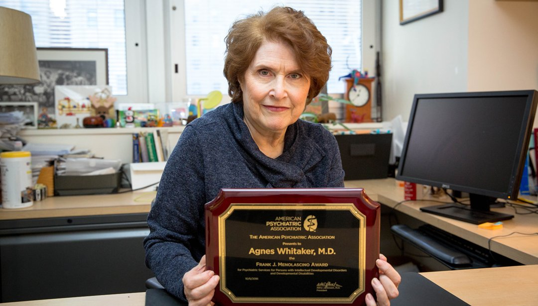 Dr  Agnes Whitaker receives the Frank J  Menolascino Award